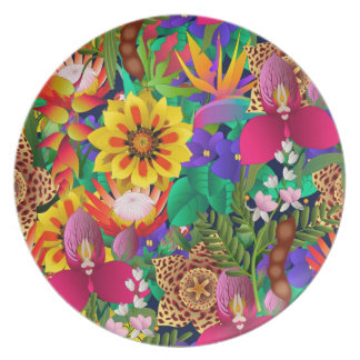 tropical flowers plate