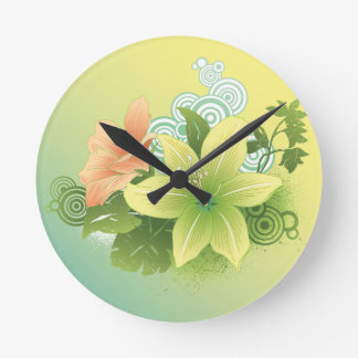 Tropical Flowers Round Clock