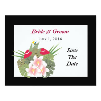Tropical Flowers Save The Date Card