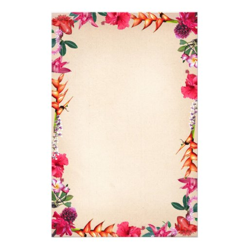 Tropical Flowers Stationery Design