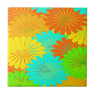 Tropical Flowers Tiles Citrus yellow orange aqua +