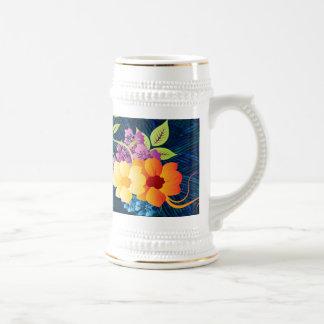 Tropical Flowers & Vines Beer Stein