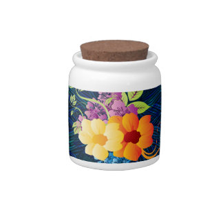 Tropical Flowers & Vines Candy Jar