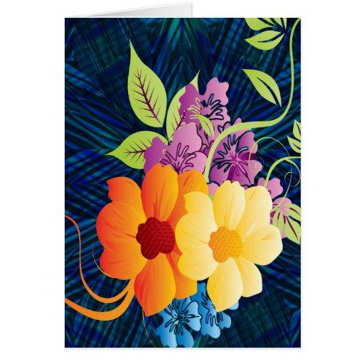 Tropical Flowers & Vines Greeting Card