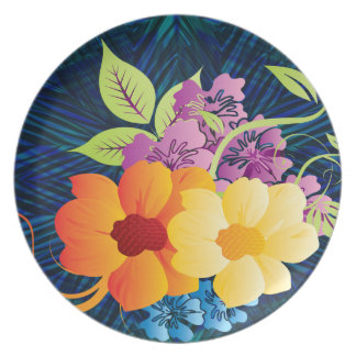 Tropical Flowers & Vines Party Plate