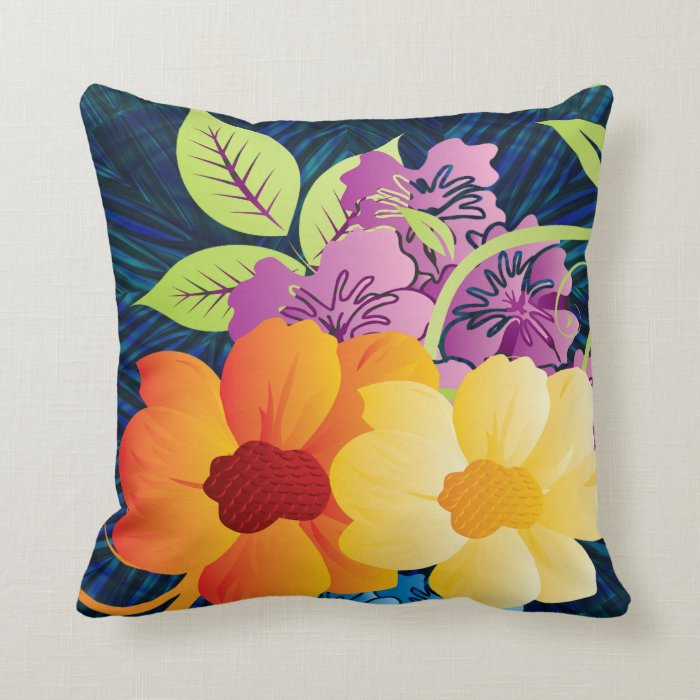 Tropical Flowers & Vines Throw Pillow