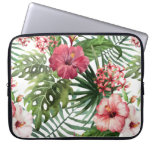 Tropical Flowers Watercolor Modern Fine Floral Computer Sleeve