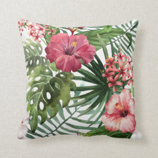 Tropical Flowers Watercolor Modern Fine Floral Throw Pillow