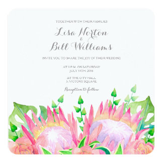 Tropical flowers watercolor wedding invitation