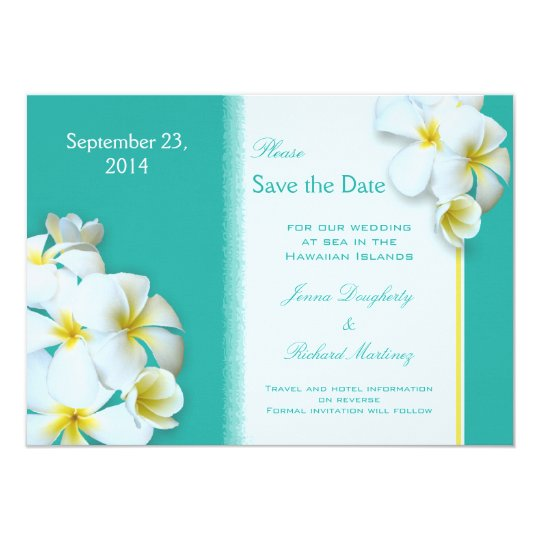 Tropical Flowers Wedding Announcement Card