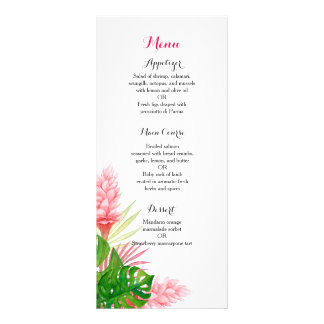 Tropical flowers wedding reception dinner menu