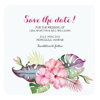 Tropical flowers wedding save the date card
