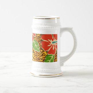 Tropical Flowers Wild Tiger Pattern Coffee Mugs