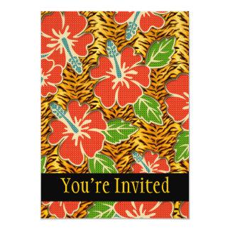 "Tropical Flowers Wild Tiger Pattern 5"" X 7"" Invitation Card"