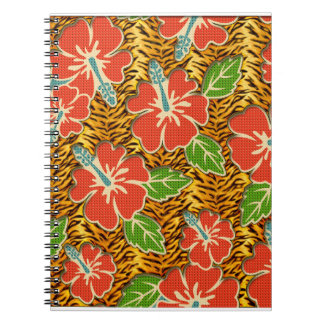 Tropical Flowers Wild Tiger Pattern Notebook