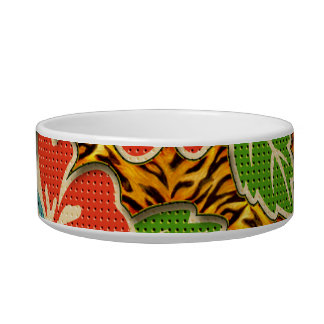 Tropical Flowers Wild Tiger Pattern Pet Bowl