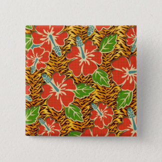 Tropical Flowers Wild Tiger Pattern Pinback Button