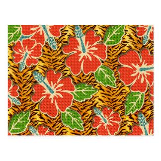 Tropical Flowers Wild Tiger Pattern Postcard