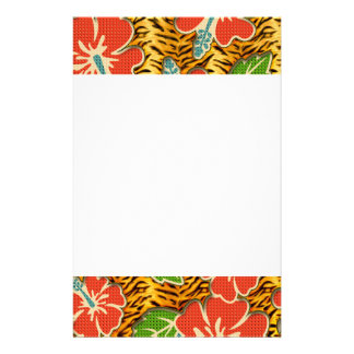 Tropical Flowers Wild Tiger Pattern Personalized Stationery
