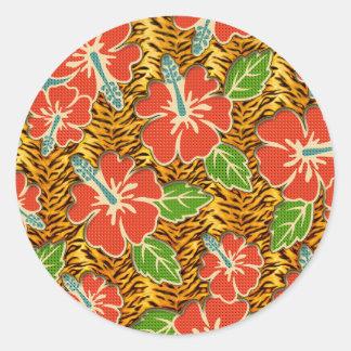 Tropical Flowers Wild Tiger Pattern Round Sticker