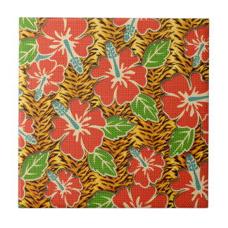 Tropical Flowers Wild Tiger Pattern Small Square Tile