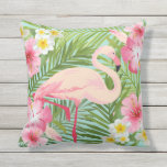 "Tropical Flowers with Pink Flamingo Outdoor Pillow<br><div class=""desc"">Tropical style pillow design features a pink flamingo framed with a Hawaiian island style pattern of vibrant pink,  yellow,  and white hibiscus flowers and a green palm leaf background.</div>"