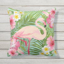 Tropical Flowers with Pink Flamingo Outdoor Pillow