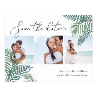Tropical Foliage Beach Wedding Photo Save the Date Postcard