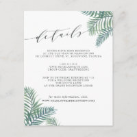 Tropical Foliage Guest Information Card