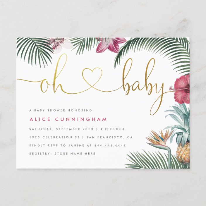 Tropical Foliage Oh Baby Gold Script
