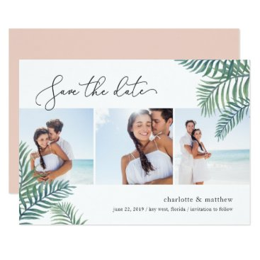 Beach Themed Tropical Foliage Photo Collage Save the Date Card