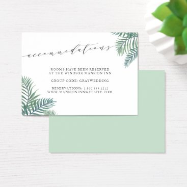 Beach Themed Tropical Foliage Wedding Hotel Accommodation Cards