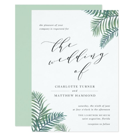 Tropical Foliage Wedding Invitation