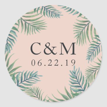 Beach Themed Tropical Foliage Wedding Monogram Classic Round Sticker