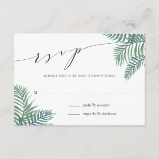 Tropical Foliage Wedding RSVP Card