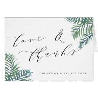 Tropical Foliage Wedding Thank You Card