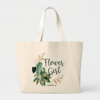Tropical Foliage Wreath Greenery Gold Flower Girl Large Tote Bag