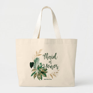 Tropical Foliage Wreath with Gold Maid of Honor Large Tote Bag