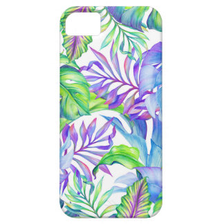 Tropical Foliage Yellow Pink Green Blue Lavender iPhone SE/5/5s Case