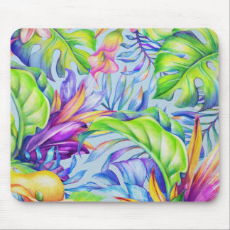 Tropical Foliage Yellow Pink Green Blue Lavender Mouse Pad