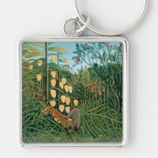 Tropical Forest – Battling Tiger and Buffalo Keychain
