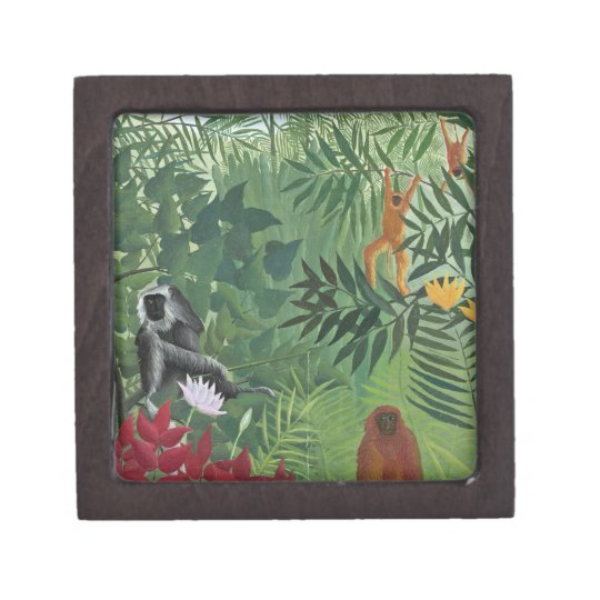 Tropical Forest with Monkeys, 1910 (oil on canvas) Keepsake Box
