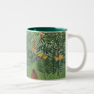 Tropical Forest with Monkeys, 1910 (oil on canvas) Two-Tone Coffee Mug