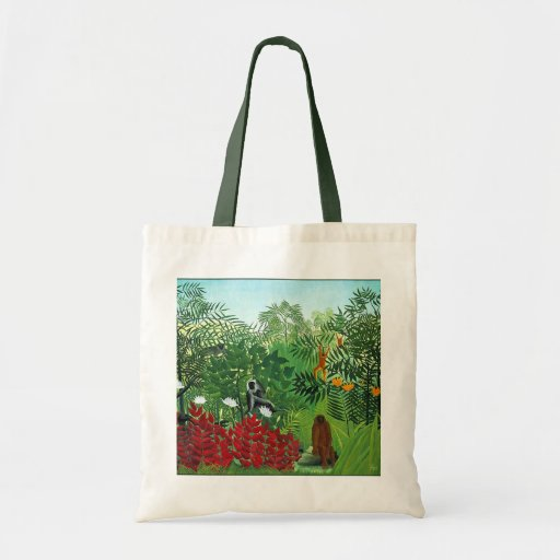 Tropical Forest with Monkeys Canvas Bag