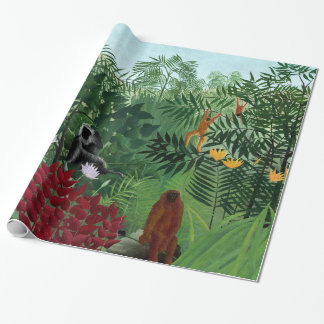 Tropical Forest with Monkeys Rousseau Fine Art Wrapping Paper