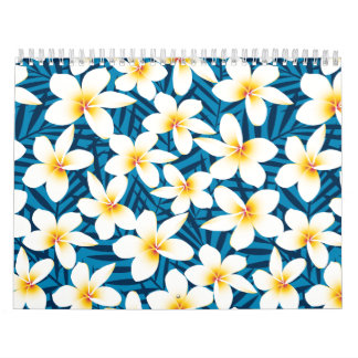 Tropical frangipani flowers calendar