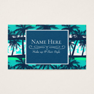 Tropical frangipani with palms business card