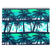 Tropical frangipani with palms calendar