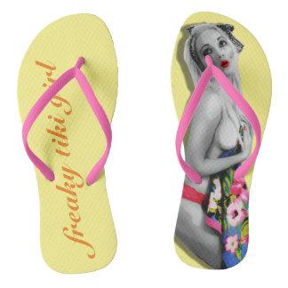 Tropical Freaky Tiki Retro Pinup Girl Flip Flops