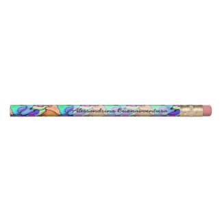 Tropical Free-form Splashes of Color Custom Name Pencil